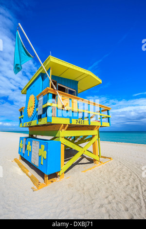 Berühmte Bademeister Haus im typischen bunten Art-Deco-Stil, Miami Beach - Stockfoto