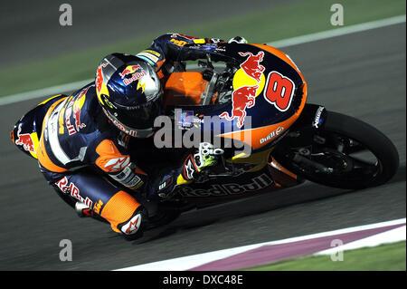Doha, Katar. 23. März 2014. Gewinner Red Bull KTM Ajo australische Fahrer Jack Miller konkurriert in der Moto3-Gruppe - Stockfoto