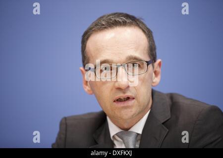 Berlin, Deutschland. 25. März 2014. Heiko Maas, Bundesminister der Justiz und Verbraucherschutz Protectionand und - Stockfoto