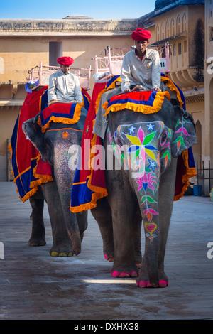 Amer Fort befindet sich in Amer 6,8 mi von Jaipur, Bundesstaat Rajasthan, Indien - Stockfoto