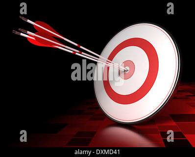 Drei Pfeile schlagen das Zentrum eines roten Ziel über dunkle Fliesen- Hintergrund. Abbildung: führende Konzept - Stockfoto