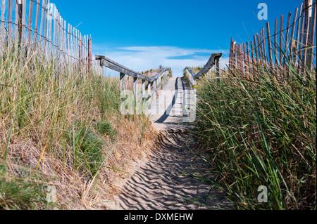 Holzsteg führt zu Ogunquit Beach, Maine, USA. - Stockfoto