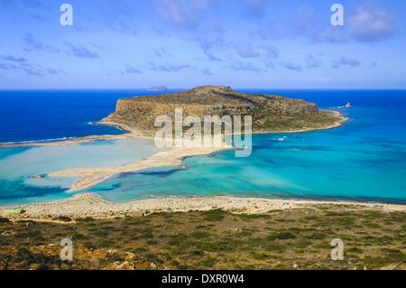 Herrliche Aussicht über Balos Lagoon und Gramvousa Insel auf Kreta, Griechenland - Stockfoto