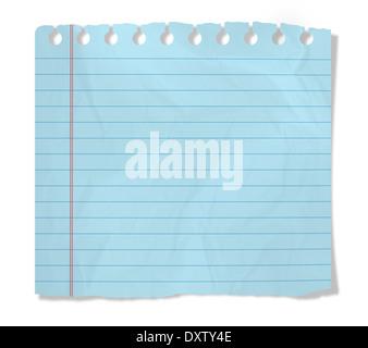 Blaues Papier isoliert auf weiss - Stockfoto