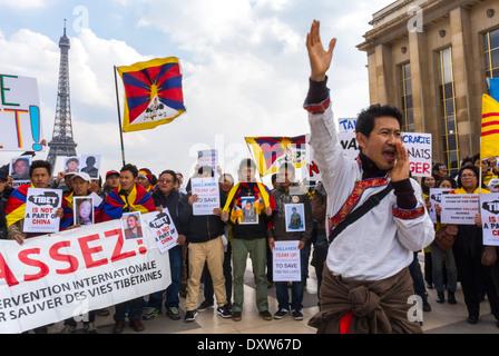 Die tibetischen, taiwanesischen Volksgemeinschaften Frankreichs und Freunde riefen französische Bürger dazu auf, während des Besuchs des chinesischen Präsidenten in Paris, der Militanten, der internationalen Einwanderer Europas zu mobilisieren