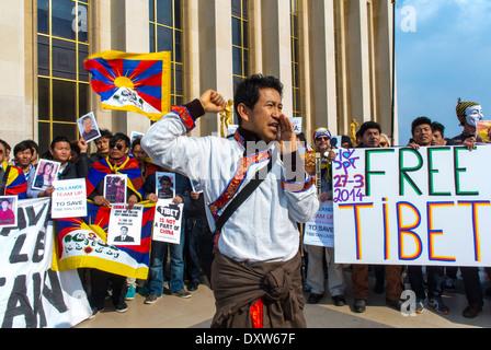 Die tibetischen, Taiwanesisch ethnischen Gemeinschaften von Frankreich, und Freunde für die französischen Bürger während des Besuchs des chinesischen Präsidenten in Paris zu mobilisieren,