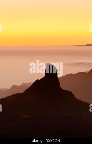 Felsformation des Roque Bentayga, Gran Canaria, Kanarische Inseln, Spanien - Stockfoto