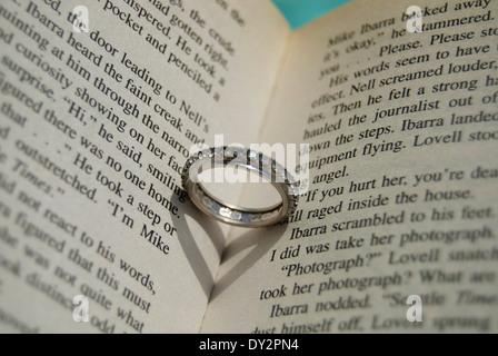 Schatten im Buch in Herzform - Stockfoto