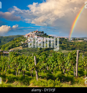 Motovun auf dem Hügel nach Regen mit Regenbogen am Himmel, Kroatien - Stockfoto