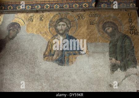 Byzantinisches Mosaik Jesu in der Hagia Sophia, Istanbul. Digitale Fotografie - Stockfoto