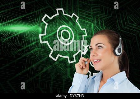 Zusammengesetztes Bild von Ritzel und Rad mit Callcenterarbeitskraft - Stockfoto