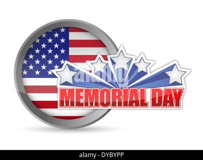 Memorial Day rot weiß und blau versiegeln Illustration Design Grafik Hintergrund - Stockfoto