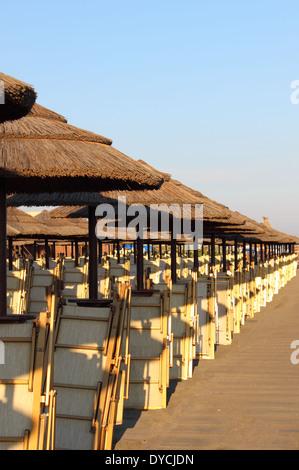 Reihe von Stroh tropische Art Sonnenschirm mit Liegestühlen - Stockfoto