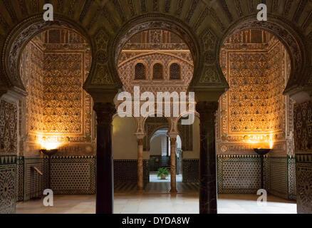 Salon der Botschafter im Alcázar von Sevilla, Provinz Sevilla, Andalusien, Spanien - Stockfoto