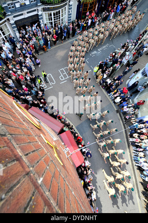 Royal Marines Commando Logistic Regiment Homecoming Parade, Barnstaple, Devon, UK - Stockfoto