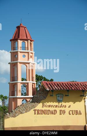 Herzlich Willkommen Sie auf Trinidad Zeichen auf Trinidad Provinz Sancti Spiritus-Kuba - Stockfoto