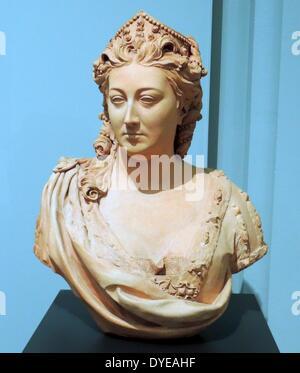 Büste von Caroline, Königin von England von John Michael Rysbrack (1693-1770) Terracotta mit beige Beschichtung, - Stockfoto