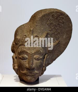 Kopf einer Gottheit. Indonesien, Java, c1425-1475, vulkanischer Stein (Andesit). - Stockfoto