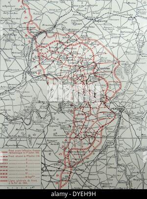 Weltkrieg 1 - das Theater an der Somme offensive. Karte, die über den Stand und die Entwicklung der Schlacht an - Stockfoto