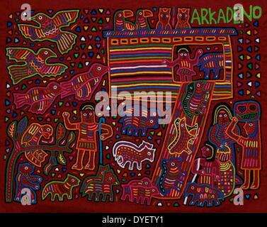 Mola textile von Kuna indische Künstler, die eine biblische Szene. Von den San Blas Archipel, Panama. Reverse applique - Stockfoto