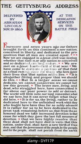 Der Gettysburg Address von Abraham Lincoln 19.11.1863 bei der Einweihung Dienstleistungen auf dem Schlachtfeld im - Stockfoto