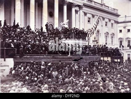 Abraham Lincoln seine zweite Antrittsrede als Präsident der Vereinigten Staaten, Washington, D.C. 1865. Foto zeigt - Stockfoto