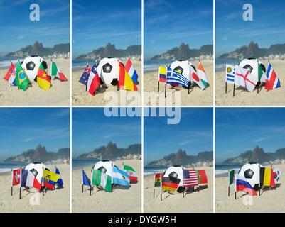 Internationaler Fußball Gruppe Länderflaggen mit Fußball am Strand von Ipanema in Rio De Janeiro Brasilien - Stockfoto