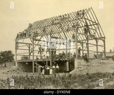 Ca. 1900 Antik Foto Gemeinde Stall Sensibilisierung. - Stockfoto
