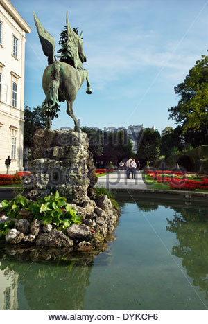 pegasus brunnen schloss mirabell oder schloss mirabell salzburg sterreich stockfoto bild. Black Bedroom Furniture Sets. Home Design Ideas