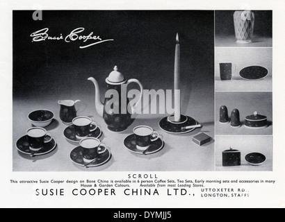 Alte Werbung für Susie Cooper Bone China. Die Anzeige erschien in einer Zeitschrift im Jahre 1956 - Stockfoto
