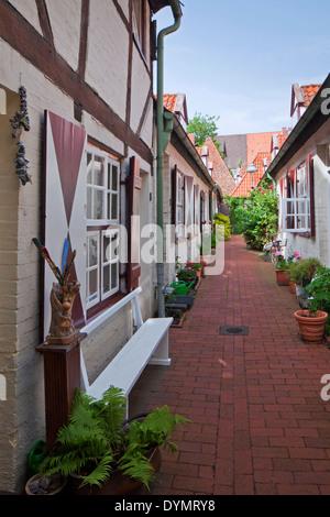 Historische Häuser in der von Höveln-Gang / Von Hoeveln Gasse in Lübeck, Schleswig-Holstein, Deutschland - Stockfoto