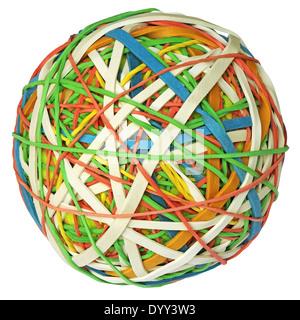 Bunte Gummiband-Ball mit Beschneidungspfad auf weißen Hintergrund isoliert - Stockfoto