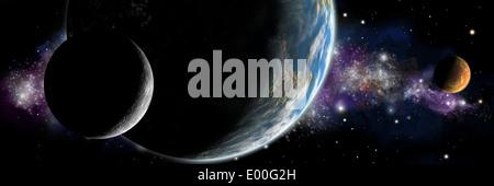 Künstlerische Darstellung eines erdähnlichen Planeten mit Mond und einem roten Planeten umkreisen. - Stockfoto