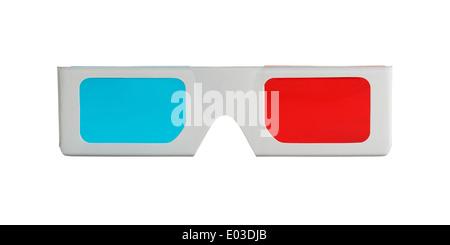 3-d-Brille bilden die Vorderansicht isoliert auf weißem Hintergrund. - Stockfoto