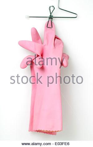 ein paar rosa Haushalt Arbeitshandschuhe - Stockfoto