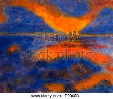 Rote Wolken von Emil Nolde dänischen Maler Dänemark - Stockfoto