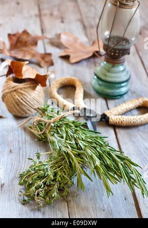 Trauben von Rosmarin und Thymian mit alten rostigen Schere und rustikale Laterne. Selektiven Fokus. - Stockfoto