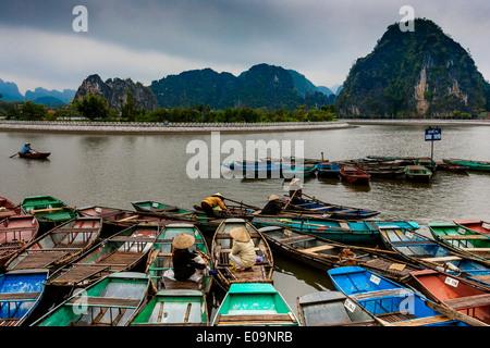 Ausflugsboote auf die Ngo Dong River Tam Coc, Ninh Binh Province, Vietnam - Stockfoto