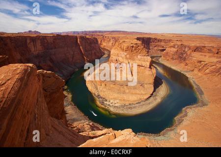 Blick auf den Horseshoe Bend des Colorado River, Glen Canyon, Glen Canyon National Recreation Area, Arizona, USA, - Stockfoto