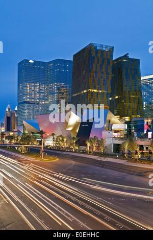 Streifen Lichter und City Center, Las Vegas, Nevada, USA - Stockfoto