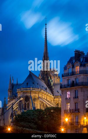 Twilight-Ansicht der Kathedrale Notre Dame und die Gebäude der Ile-de-la-Cité, Paris Frankreich - Stockfoto