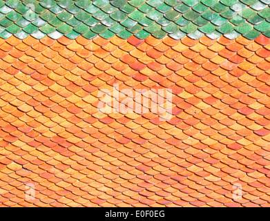 Dach-Fliesen-Hintergrund Fliesen orangenes Sonnenlicht. - Stockfoto