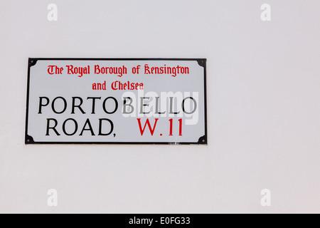 Portobello Road Straßenschild, London, England, UK Stockfoto, Bild ...