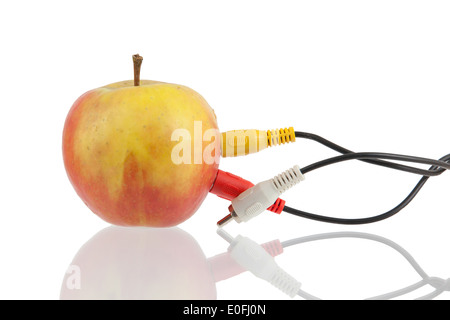 Audio-video-Kabel auf Apple, Kommunikations-Konzept - Stockfoto