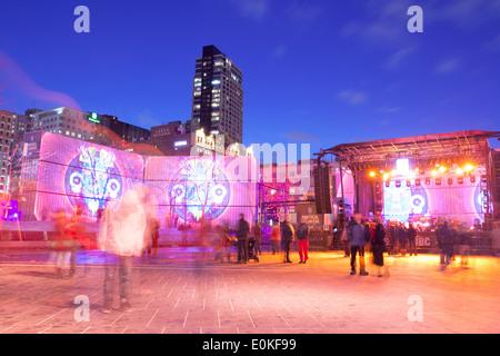 Montreal En Lumiere, Quartier des Spectacles, Montreal, Quebec, Kanada 2014 - Stockfoto
