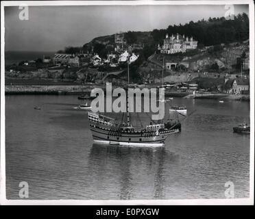 4. April 1957 - bereitet '' Mayflower II'' auf Pilgrim Fathers Reise in die Vereinigten Staaten. Allgemeine Ansicht - Stockfoto