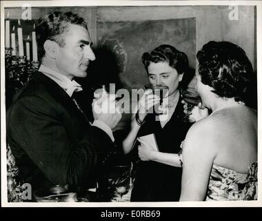 12. Dezember 1958 - Ministerpräsident Italiens hält Abendessen zu Ehren des Schahs von Persien: Amintore Fanfani - Stockfoto
