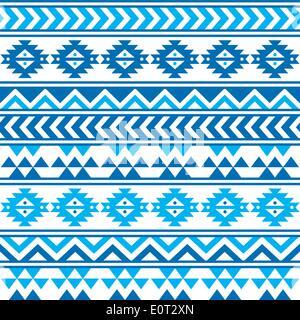 Aztekische tribal blau-Marine Musterdesign - Stockfoto