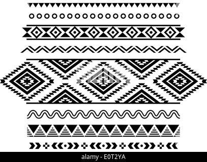 Stammes-Musterdesign, aztekische schwarzen und weißen Hintergrund - Stockfoto