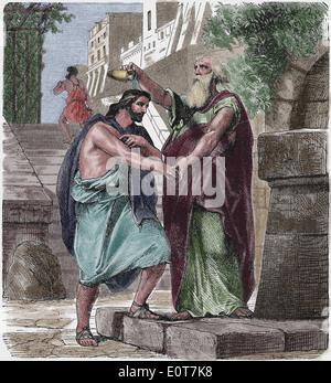 Alten Testament. Von Samuel salbte Saul. Cyclopedia der Universalgeschichte, 1885. Gravur. Spätere Färbung.